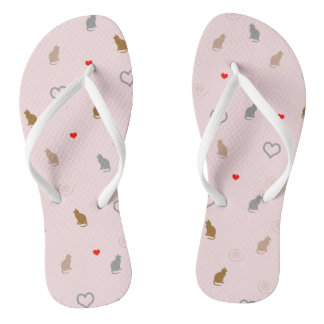 Cute girly cat and heart pattern pastel pink flip flops