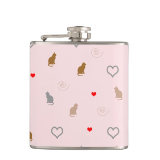 Cute girly cat and heart pattern pastel pink hip flask