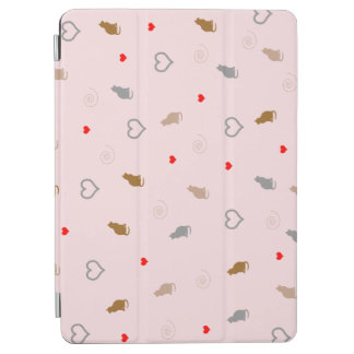 Cute girly cat and heart pattern pastel pink iPad air cover