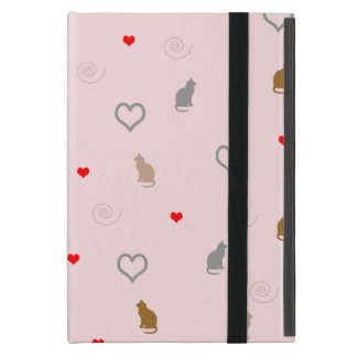 Cute girly cat and heart pattern pastel pink iPad mini cover