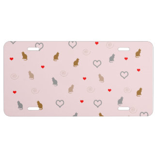 Cute girly cat and heart pattern pastel pink license plate