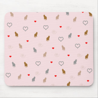 Cute girly cat and heart pattern pastel pink mouse pad