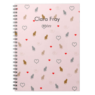 Cute girly cat and heart pattern pastel pink notebooks