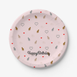 Cute girly cat and heart pattern pastel pink paper plate