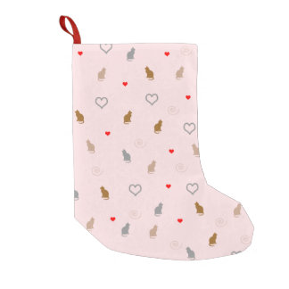 Cute girly cat and heart pattern pastel pink small christmas stocking