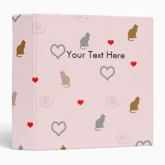 Cute girly cat and heart pattern pastel pink vinyl binder