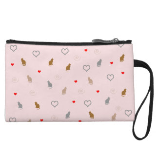 Cute girly cat and heart pattern pastel pink wristlet