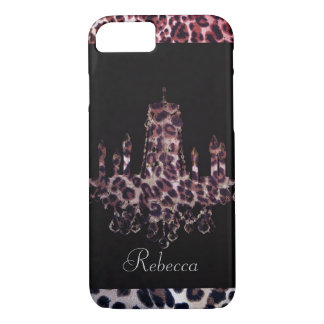 Cute girly chic leopard print chandelier Case-Mate iPhone case