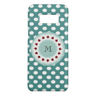 Cute girly chic polka dots  ladybugs monogram Case-Mate samsung galaxy s8 case