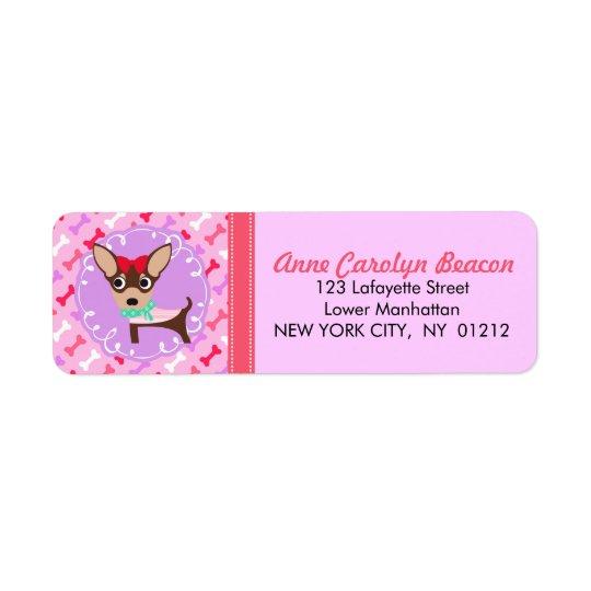 Cute Girly Chihuahua Pink & Purple Pattern Return Address Label