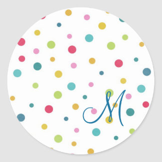 Cute girly colourful different sizes  polka dots classic round sticker