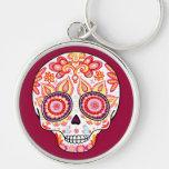 Cute Girly Day of the Dead Keychain Sugar Skull