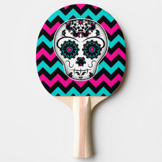 Cute girly day of the dead sugar skull chevron ping pong paddle
