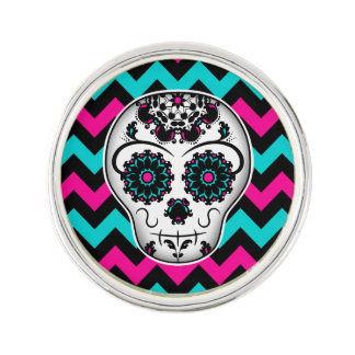 Cute girly day of the dead sugar skull lapel pin