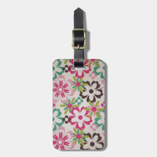 Cute girly elegant colourful spring flowers shapes luggage tag