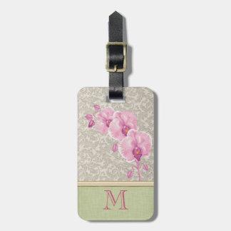 Cute girly elegant damask orchid monogram luggage tag