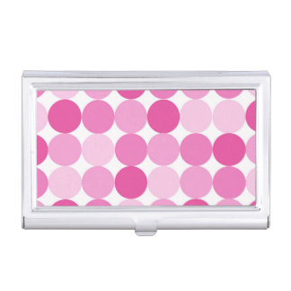 Cute Girly Elegant Pink Polka Dots Business Card Holder