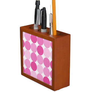 Cute Girly Elegant Pink Polka Dots Desk Organizer