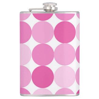 Cute Girly Elegant Pink Polka Dots Flask