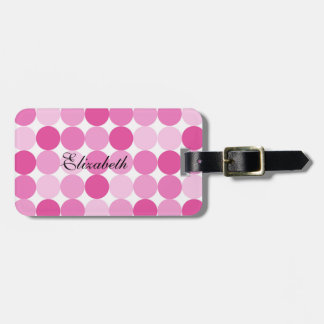 Cute Girly Elegant Pink Polka Dots Luggage Tag