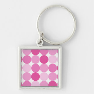 Cute Girly Elegant Pink Polka Dots Silver-Colored Square Keychain