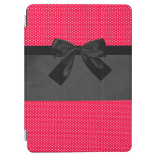 Cute Girly Elegant Red Polka Dots -Black Bow iPad Air Cover