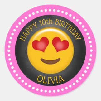 Cute Girly Emoji Birthday Party Classic Round Sticker