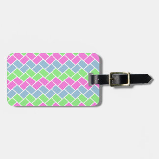 Cute girly  fashionable zigzag rectangles pattern luggage tag