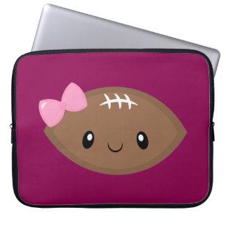 Cute Girly Football Emoji Laptop Sleeve