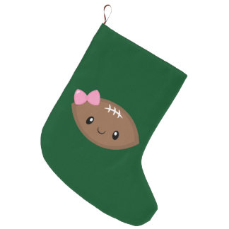 Cute Girly Football Emoji Large Christmas Stocking