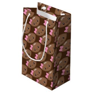Cute Girly Football Emoji Small Gift Bag