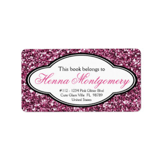 Cute Girly Glitter Look  PINK Bookplate