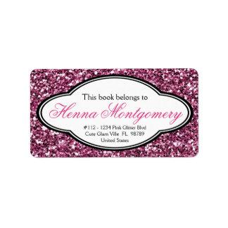 Cute Girly Glitter Look  PINK Bookplate Label