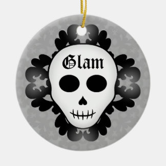 Cute girly gothic glam skull Halloween Ceramic Ornament