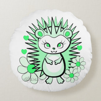 Cute Girly Hedgehog Green Round Pillow