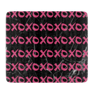 Cute girly hot pink black marble xoxo hugs kisses boards