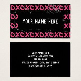 Cute girly hot pink black marble xoxo hugs kisses business card
