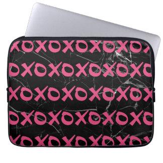 Cute girly hot pink black marble xoxo hugs kisses laptop sleeve