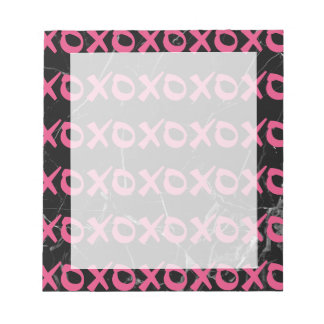 Cute girly hot pink black marble xoxo hugs kisses notepad