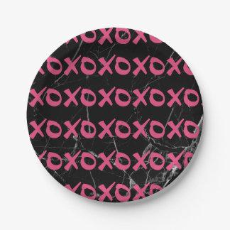 Cute girly hot pink black marble xoxo hugs kisses paper plate
