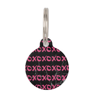 Cute girly hot pink black marble xoxo hugs kisses pet ID tag