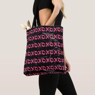 Cute girly hot pink black marble xoxo hugs kisses tote bag