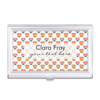 Cute Girly In Love Hearts Cat Emoji Pattern Business Card Holder