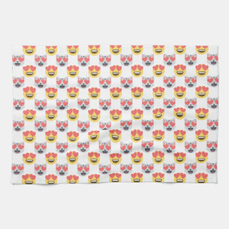Cute Girly In Love Hearts Cat Emoji Pattern Kitchen Towel