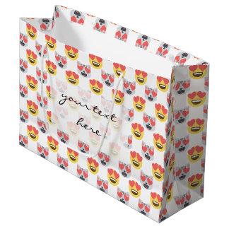 Cute Girly In Love Hearts Cat Emoji Pattern Large Gift Bag