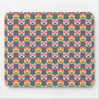 Cute Girly In Love Hearts Cat Emoji Pattern Mouse Pad