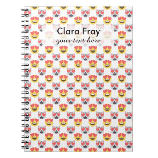 Cute Girly In Love Hearts Cat Emoji Pattern Notebooks