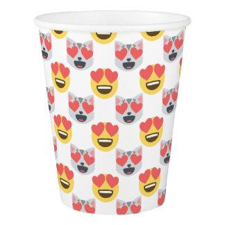 Cute Girly In Love Hearts Cat Emoji Pattern Paper Cup
