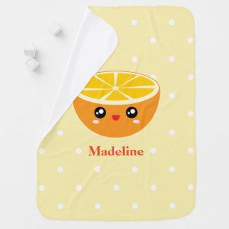 Cute Girly Kawaii Happy Sweet Orange Baby Girl Baby Blanket