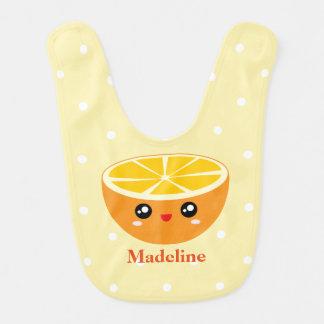 Cute Girly Kawaii Happy Sweet Orange Baby Girl Bib